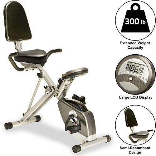 Exerpeutic 400XL Folding Recumbent Bike, Without Equipment Mat