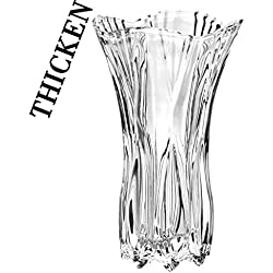 "Slymeay Flower Vase Large Size Phoenix Tail Shape Thickened Crystal Glass For Home Decor, Wedding or Gift - 11"" High x5.5 Wide,With Color Box"