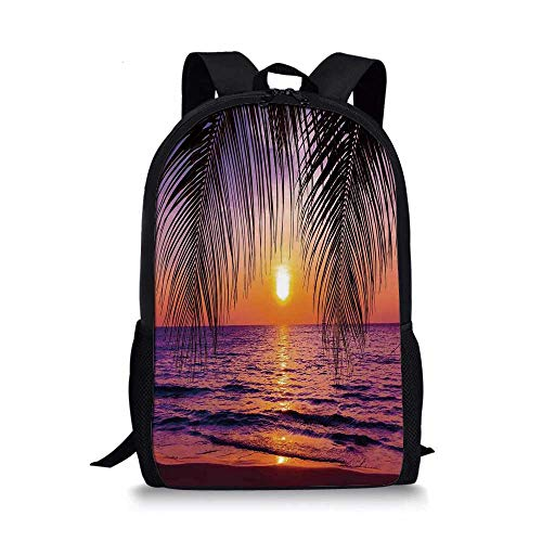 (Tropical Decor Stylish School Bag,Sunset over the Ocean with Tropical Palm Trees Twilight Sundown Scenery for Boys,11''L x 5''W x 17''H)