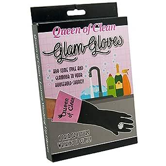Diabolical Gifts DP0989 Queen of Clean diskhandskar, rosa och svart, medium