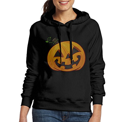 Bekey Women's Halloween Pumpkin Hoodie Sweatshirt XL Black