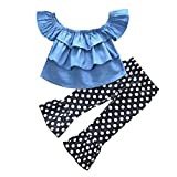 Toddler Kids Baby Girls Ruffles One Off Shoulder Denim Tops+Polka Dot Flare Bell Bottom Pants Outfits Set (Blue, 24 Months)
