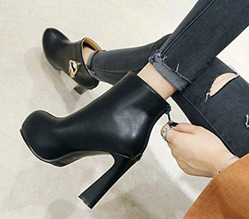 Aisun Haut Noir Femme Boots Low Bottines Franges Talon Plateforme SXt5qY
