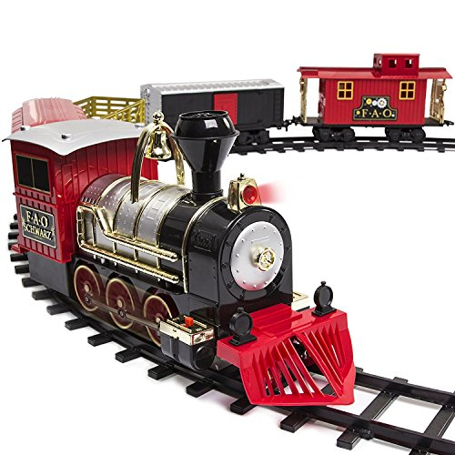 (FAO Schwarz Classic Motorized Train Set, 75-Piece Complete Toy Set with Engine, Cargo, 40 Feet of Modular Tracks, for Children, 5 Unique Train Cars Light-Up LED, Realistic Sound Effects, Amazing Gift)