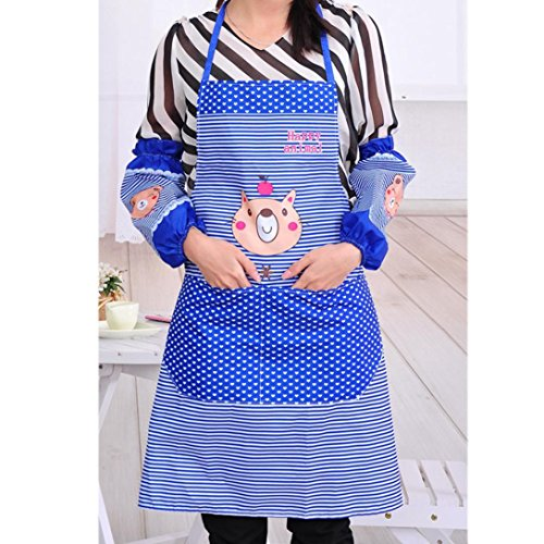 [Iuhan Fashion Womens Kitchen Restaurant Bib Cooking Aprons Pockets Apron (Blue)] (1950s Geek Costume)