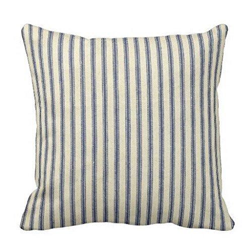 Retro Ticking Blue White Striped Vintage French Pillow Case (Blue And White Striped Pillows)