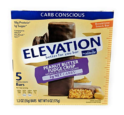Elevation by Millville Peanut Butter Fudge Crisp Breaktime Bars 1.2oz x5 bars(total 6 oz), pack of ()