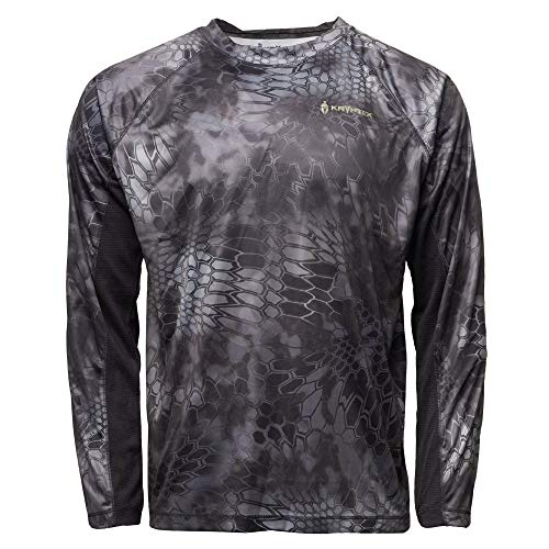 Kryptek Aura Long Sleeve Camo Hunting & Fishing Shirt (K-Ore Collection), Typhon/Black, L