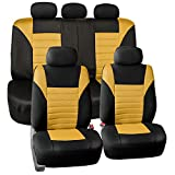 air bag mazda 3 2011 - FH Group FB068YELLOW115 Yellow Universal Car Seat Cover (Premium 3D Air mesh Design Airbag and Rear Split Bench Compatible)