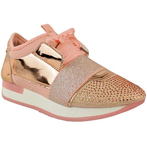 Moda Sedoso Para Mujer Diamante Sneakers Bali Runners Lace Up Sports Nuevo Tamaño Rose Gold Metallic / Pink