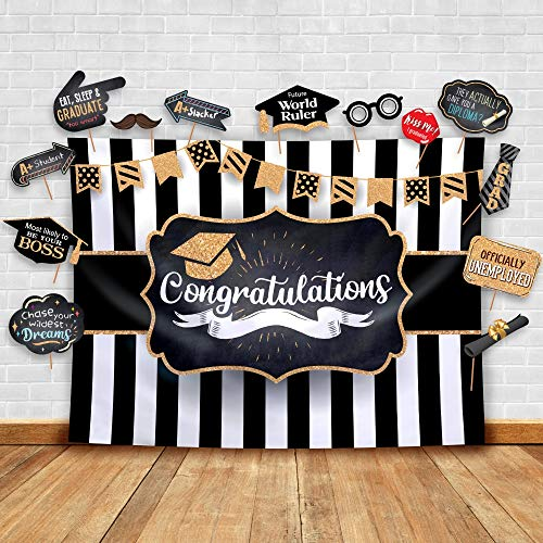2019 Graduation Party Backdrop - Classy Black, White and Gold Theme Photography Fabric Backdrop and Studio Props DIY Kit. Great as Photo Booth Background Party Supplies and Prom Banner Decorations -