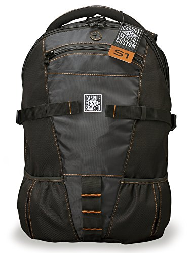Cardiff Skate Co. Skate Backpack with Orange Accent, Black/Orange