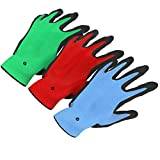 Vremi Heavy Duty Gardening Gloves for Men and Women - 3 Pack Small Size Bamboo Nitrile Coated Thorn Proof Indoor and Outdoor Garden Gloves for Vegetable Roses or Flower Gardens - Blue Green and Red