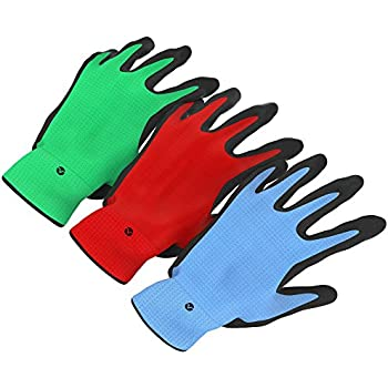 Vremi Heavy Duty Gardening Gloves For Men And Women   3 Pack Large Size  Bamboo Nitrile