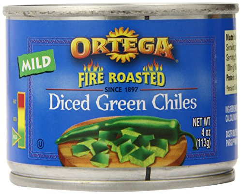 Ortega Peppers, Diced Green Chiles, Mild, 4 Ounce (Pack of 12)