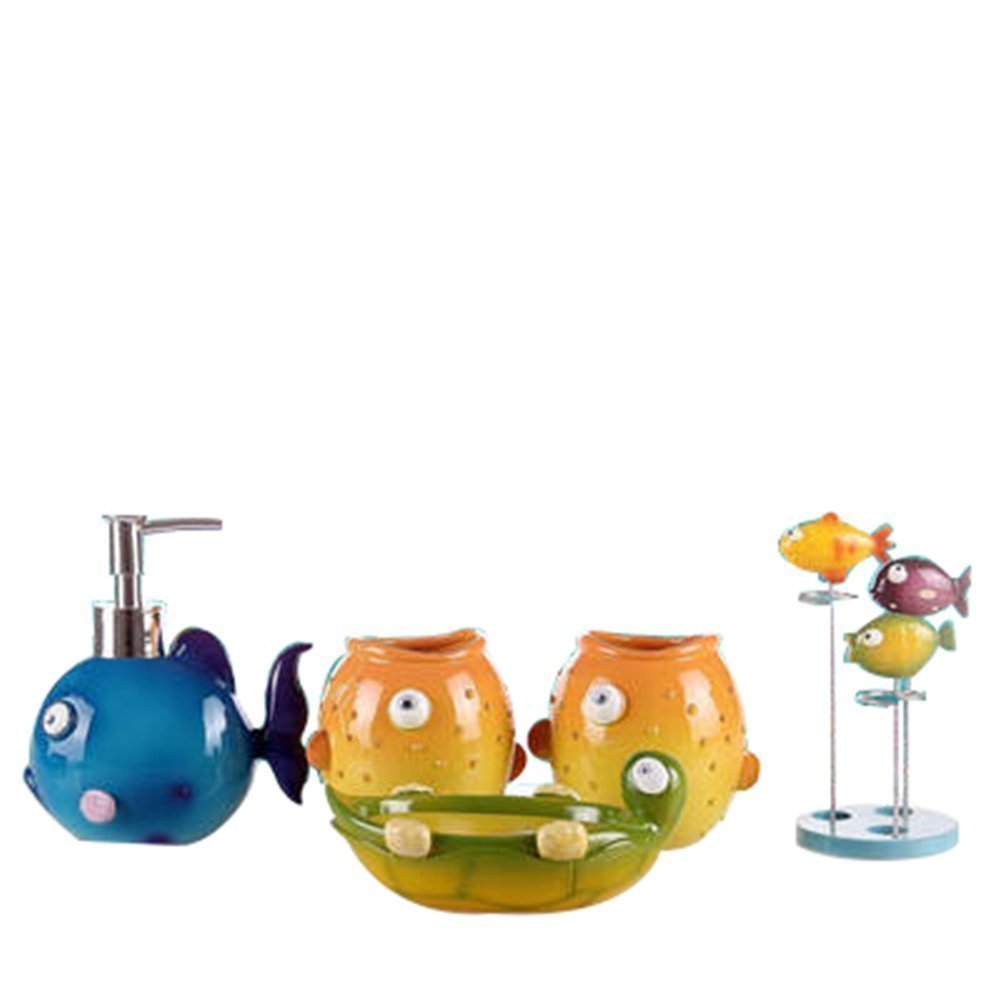 JynXos Country Style Resin 5PC Bathroom Accessories Set Soap Dispenser/Toothbrush Holder/Tumbler/Soap Dish : Colorful Fish