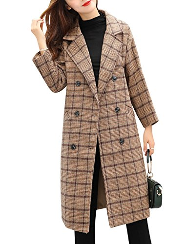 Tanming Women's Double Breasted Long Plaid Wool Blend Pea Coat Outerwear (Medium, Khaki)