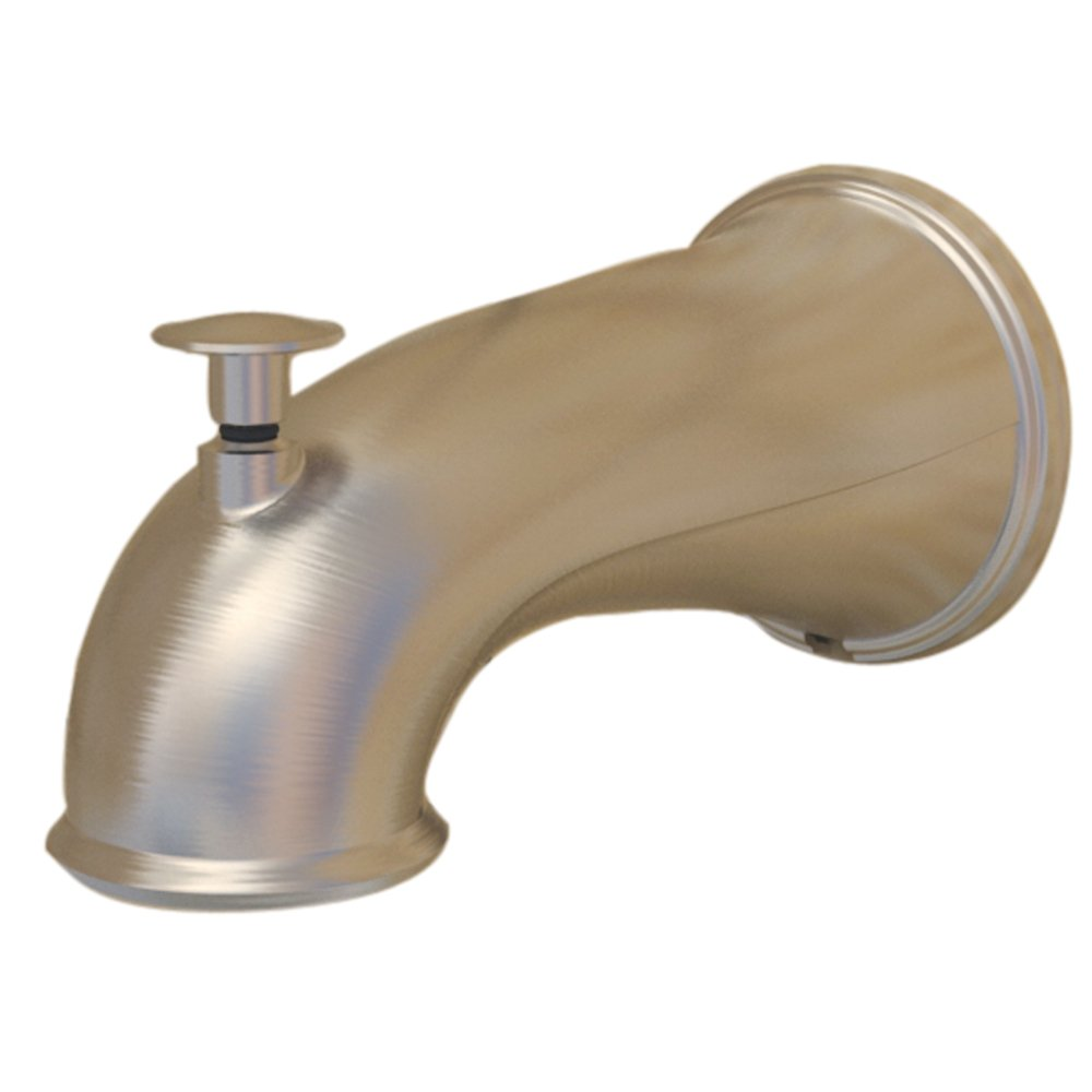 DANCO Decorative Tub Spout with Pull Up Diverter, 6 Inches, Brushed Nickel, 1-Pack (10316)