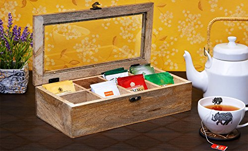 Cyber Monday Wooden Tea Caddy Storage Chest Tea Box with Equally Divided Compartments - Rustic Finish Mango Wood Beautiful Gift on all Occasions (8 Compartments)
