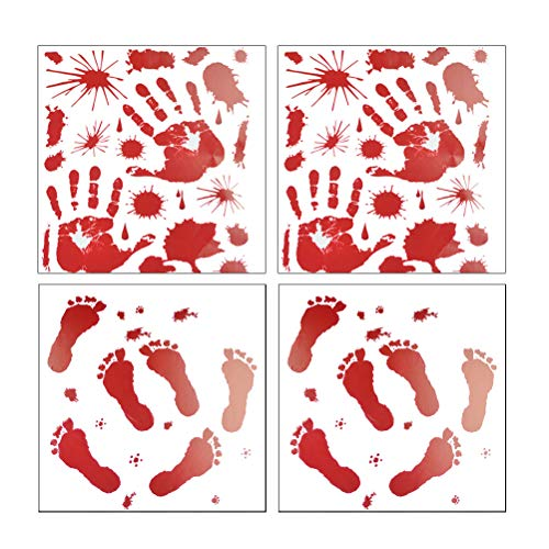 Amosfun 4 Sheets Bloody Handprint Footprint Sticker Halloween Party Favors Red Graphic Bloody Sticker Splatter Hand Print for Halloween Costume Decor Decal -