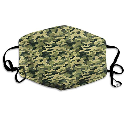 Camouflage Dust Mouth Mask Pale Clothing Motif for Men and Women W4