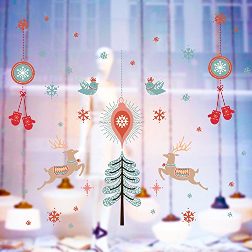 FHDGDVCGDGC Christmas Wall Sticker,PVC Glass Sliding Door Decal Window Display Shopping mall Stickers Dress up Decoration Applique-A 150x113cm(59x44inch)
