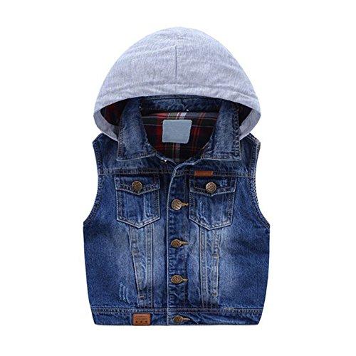 Kid Boy Girl Plaid Lined Denim Vest Jacket With Hood Blue 5-6