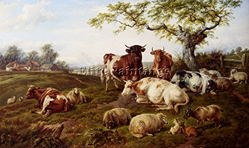 JONES CHARLES RESTING CATTLE SHEEP DEER FARM BEYOND ARTIST PAINTING OIL CANVAS 22x36inch MUSEUM QUALITY
