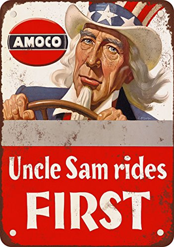 9-x-12-metal-sign-1943-amoco-gasoline-uncle-sam-rides-first-vintage-look-reproduction