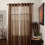 Bedford Home Karla Laser-Cut Grommet Single Curtain Panel, 108-Inch, Chocolate For Sale
