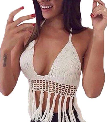 Camisole Damen Bra Bikini Vintage Hohl Gestrickt Quaste Strand Sommer Tank Tops