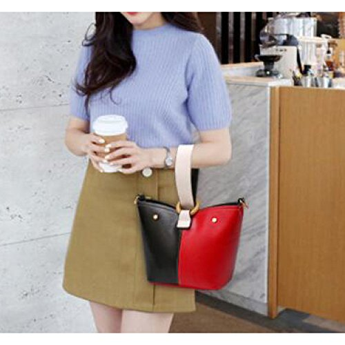 Red Nero La Bag Pelle Pu Renhong Black Fashion Rosso Borsa Messenger Ladies Cubo 4wngPqzxFw