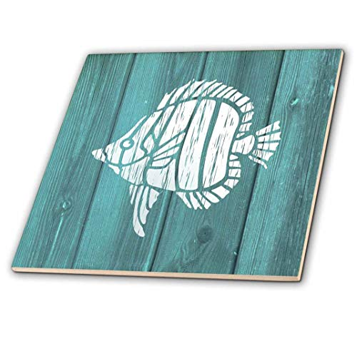 3dRose White Painted Tropical Fish on Teal Background-not Real Wood-Ceramic Tile, 12-inch (ct_220421_4), Multicolor ()