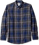 Amazon Essentials Men's Regular-Fit Long-Sleeve Plaid Flannel Shirt, Blue/Charcoal Heather, X-Small