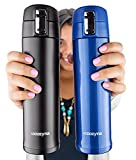 Insulated Travel Mug for Coffee And Tea by Cozyna, Stainless Steel, 16 oz, Black and Blue
