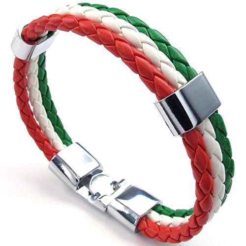 Leather Bracelet Unisex- Feelme Mens Italian Flag Triple Round Cord Braided Rope Wrap Banner Cuff Bangle Wristband IT