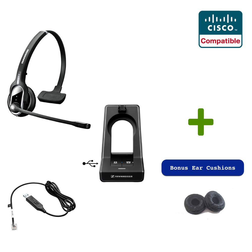 Sennheiser SD PRO1 - Deskphone Cordless Headset with Cisco Remote Answering EHS Adapter Included | Compatible Cisco Models: 8900 and 9900 Series