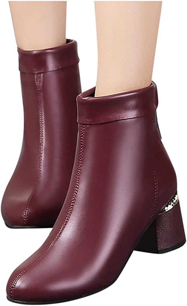 Whitegeese Womens Leisure Solid Round Toe Zipper High Chunky Heels Boots Shoes