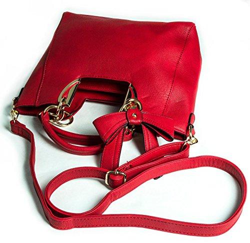 Top Bow Medium Womens Shoulder Black Size Handle Deco Big Handbag Detail Golden Plain Shop Bag aRRxB8