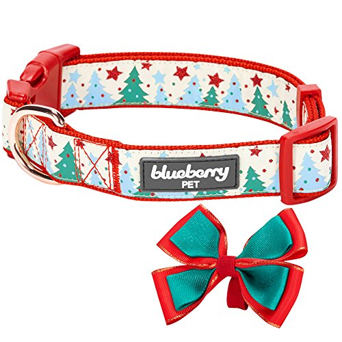 Blueberry Pet 14 Patterns Moments of Fantasy Embrace Nature Christmas Designer Dog Collar, Small, Neck 12″-16″, Adjustable Collars for Dogs