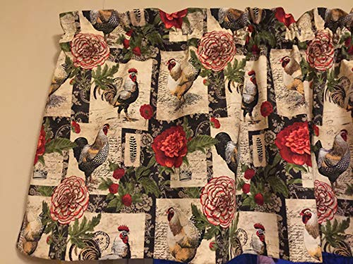 (French Country Rooster Chicken Flower Feather Tan Black Red Kitchen Window Treatment Valance Decor)