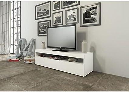 finlandek meuble tv 130cm laque blanc