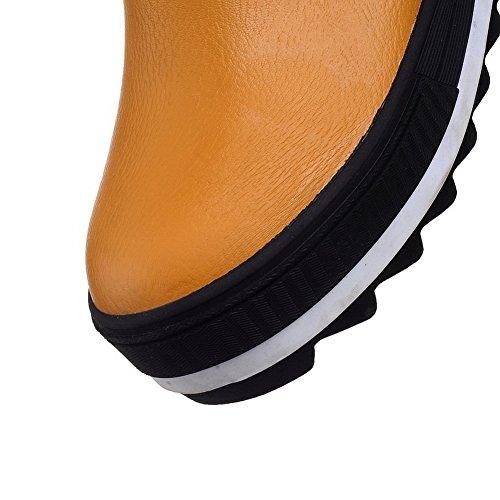 Outdoor Imitated Boots AdeeSu Heels Ladies Leather Heighten Kitten Yellow Inside wxp4XHCq