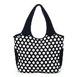 BUILT NY Essential Neoprene Shopping Tote Bag, Big Dot Black & White