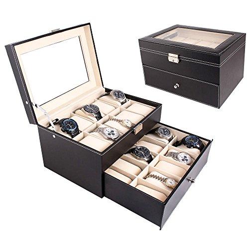 FCH 20-Slot PU Leather Watch Box Glass Top Black Jewelry Collection Storage Case Lockable Watch Display Organizer