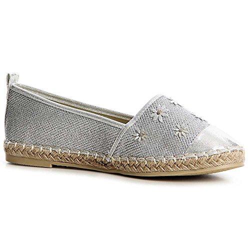 Chaussures Chaussures topschuhe24 Femmes Ballerines Silver topschuhe24 Femmes qxOZIgZ