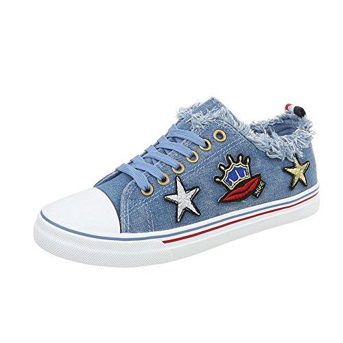Xy Sneakers da Ital piatto Scarpe Blu 562 Design Sneaker low donna zqfwaRFCxf