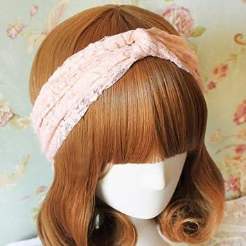 Amazon.com   Women Lace Retro Turban Twist Head Wrap Headband Headscarf  Twisted Knotted Soft Hair Band (4.Pink)   Beauty 0bb81c6765b