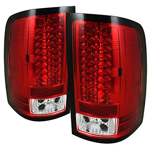 For 07-13 Sierra 1500 07-14 Sierra 2500HD 3500HD Red Clear LED Tail Lights Brake Lamps Replacement