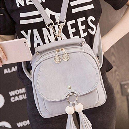 Soft Bag Shoulder Tassel Satchel Gray Mini Fashion Outdoor Women Handbag KIMODO Backpack wvqYpzn